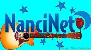 NanciNet logo, featuring a guitar and stars